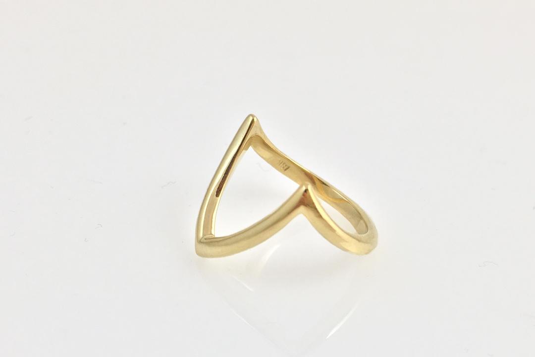 Custom Yellow Gold V Ring