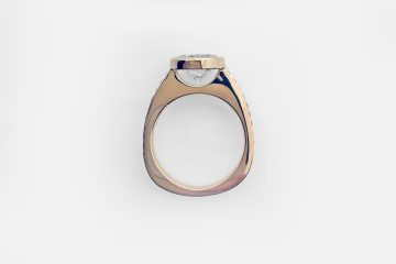 Oval Bezel Rose Gold Pave' Engagement Ring