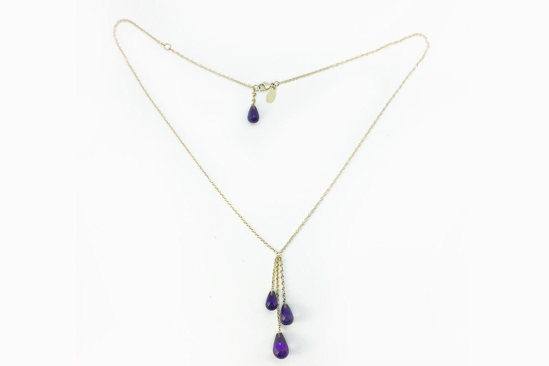 Amethyst Teardrop Gold Necklace