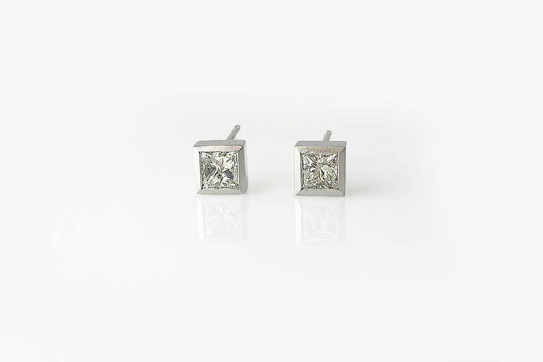 Princess Diamond Bezel Studs