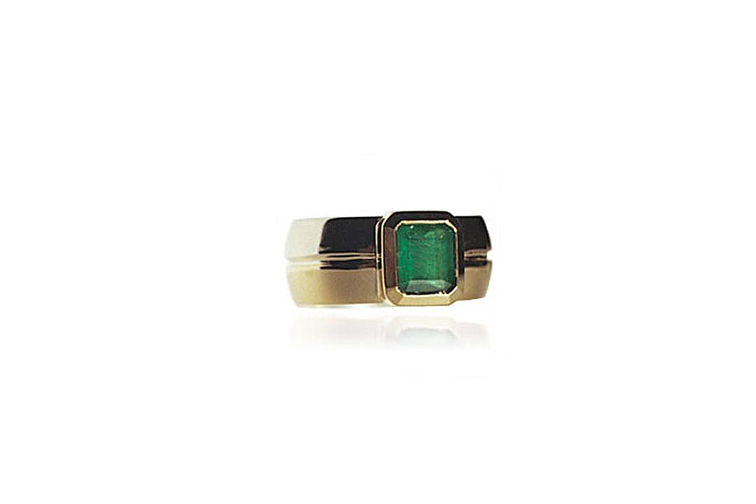 Custom Two Toned Gold Emerald Bezel Ring