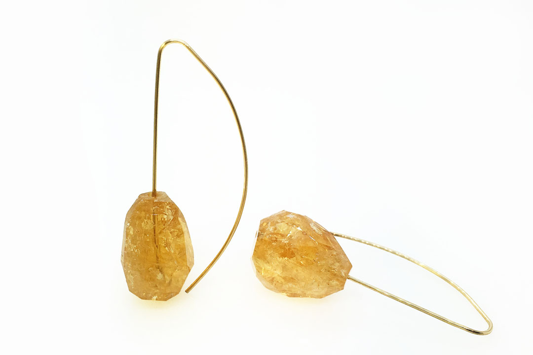 Citrine drop on Gold Wire Earrings